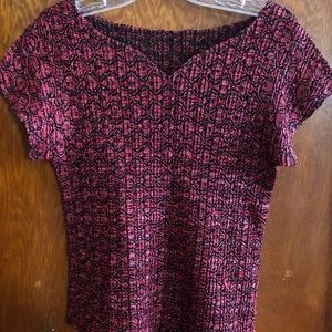 Vintage stretchy red and black top